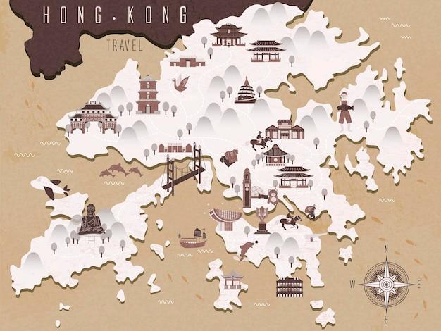 Mapa podróży retro hongkongu w stylu chińskiego atramentu