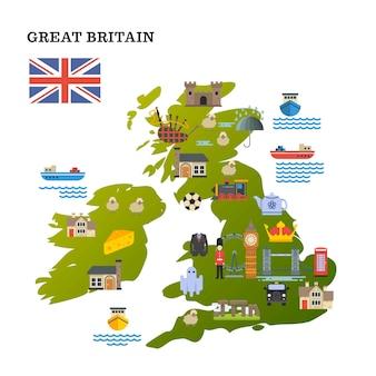 Mapa podróży wielkiej brytanii