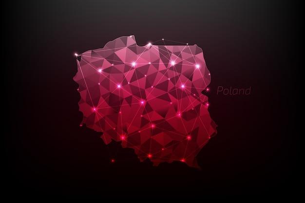 Mapa polski wielokątna ze świecącymi światłami i linią