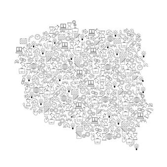 Mapa polski z czarnego wzoru zestaw ikon koncepcji analizy seo lub rozwoju, biznesu. ilustracja wektorowa.