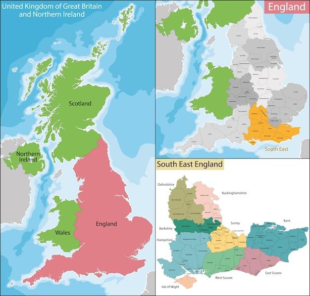 Mapa południowo-wschodniej anglii