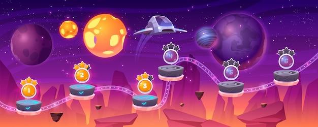 Mapa poziomu gry kosmicznej ze statkiem kosmicznym i obcymi planetami, kreskówkowym krajobrazem 2d gui, komputerową lub mobilną arkadą z platformą i dodatkowymi elementami. kosmos, ilustracja futurystycznego tła wszechświata