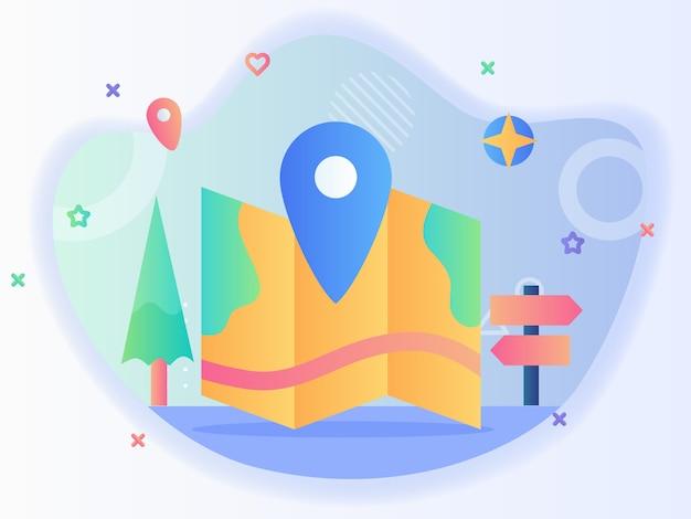Mapa przewodnik podróżujący koncepcja znacznik lokalizacji mapa broszura znak post drzewo kompas z płaskim stylem.