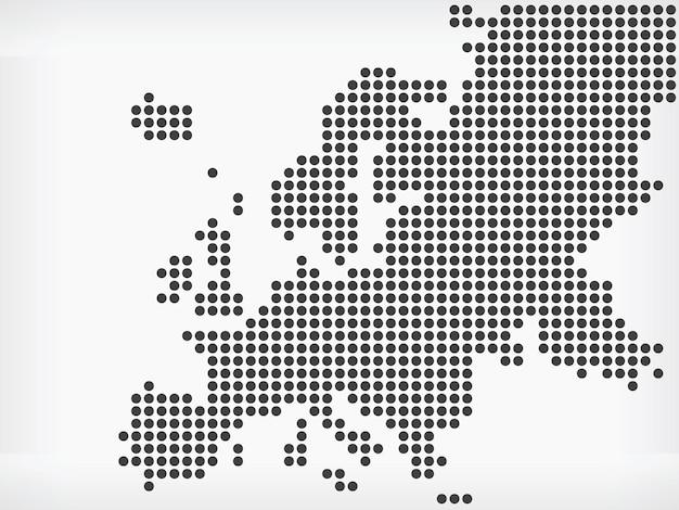 Mapa regionu europejskiego pikselowe kropki kontynent