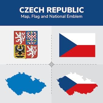 Mapa republiki czeskiej, flaga i godło państwowe