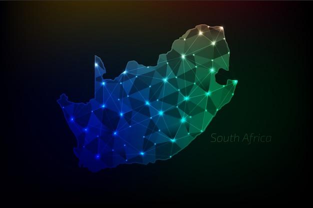 Mapa republiki południowej afryki wielokątne ze świecącymi światłami i linią
