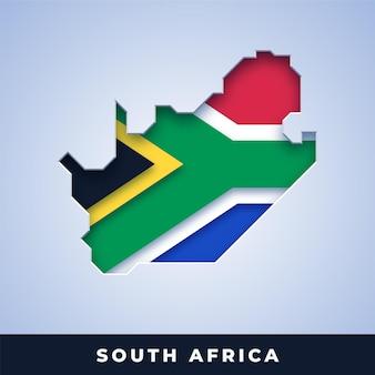Mapa republiki południowej afryki z flagą