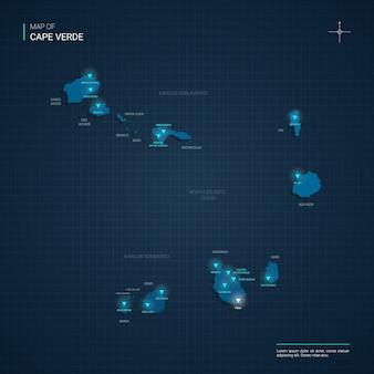 Mapa republiki zielonego przylądka z niebieskimi punktami światła neonowego