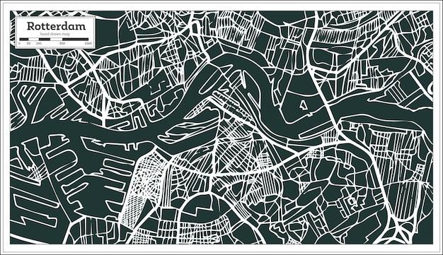 Mapa rotterdamu w stylu retro. ręcznie rysowane. ilustracja wektorowa.