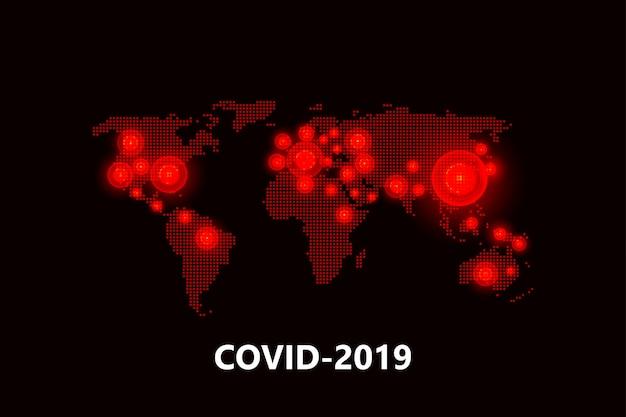 Mapa rozprzestrzeniania się pandemii coronavirus.virus covid -19. wybuchy epidemii na całym świecie. ilustracja.