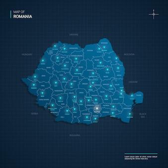 Mapa rumunii z niebieskimi punktami światła neonowego
