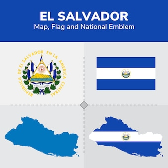 Mapa salwadoru, flaga i godło państwowe
