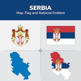 Mapa serbii, flaga i godło państwowe