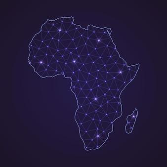 Mapa sieci cyfrowej afryki. abstrakcyjna linia łącząca i kropka na ciemnym tle