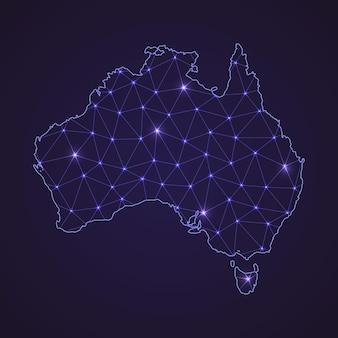 Mapa sieci cyfrowej australii. abstrakcyjna linia łącząca i kropka na ciemnym tle