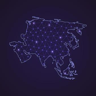 Mapa sieci cyfrowej azji. abstrakcyjna linia łącząca i kropka na ciemnym tle