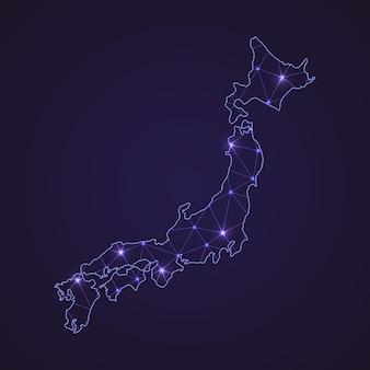 Mapa sieci cyfrowej japonii. abstrakcyjna linia łącząca i kropka