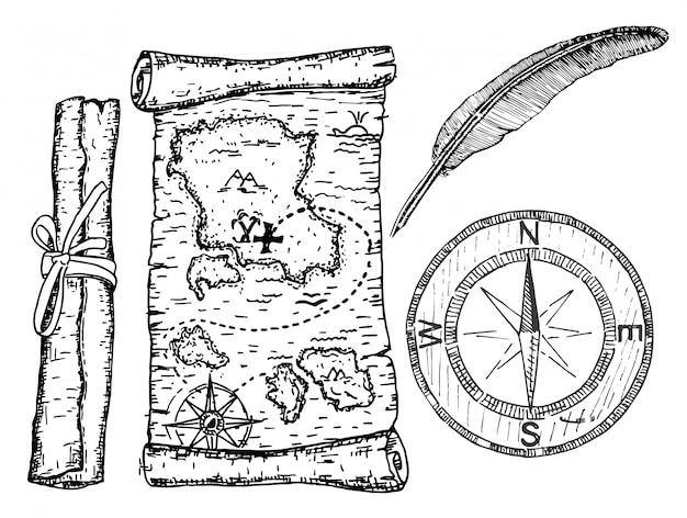 Mapa skarbów, kompas i pióro. ilustracja koncepcji mapy piratów.
