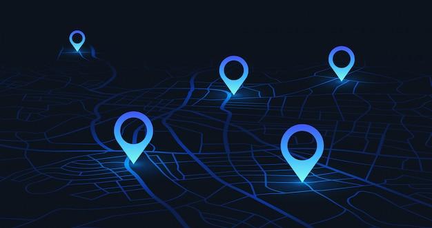 Mapa śledzenia gps. śledź pinezki nawigacyjne na mapach ulicznych, nawiguj technologię mapowania i zlokalizuj pinezkę pozycji