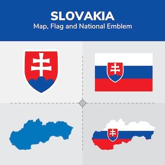 Mapa słowacji, flaga i godło państwowe