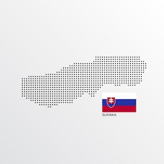 Mapa słowacji z flagą i jasnym tle wektora