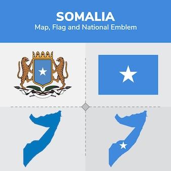 Mapa somalii, flaga i godło państwowe