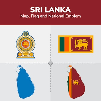Mapa sri lanki, flaga i godło państwowe