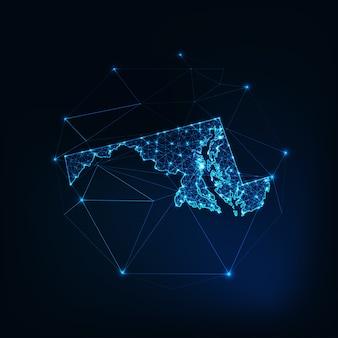 Mapa stanu maryland w usa świecący zarys sylwetki wykonany z gwiazd, linii, kropek, trójkątów, niskie wielokątne kształty.