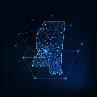 Mapa stanu mississippi usa świecący zarys sylwetki wykonany z gwiazd linie kropki trójkąty, niskie wielokątne kształty. komunikacja, koncepcja technologii internetowych. futurystyczny model szkieletowy