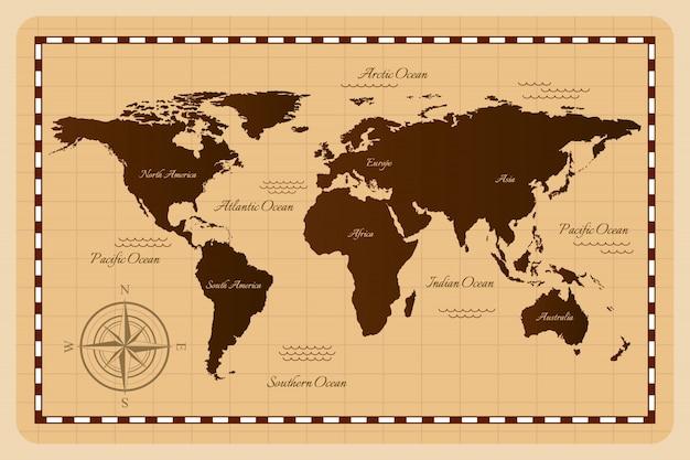 Mapa starego świata. ilustracja.