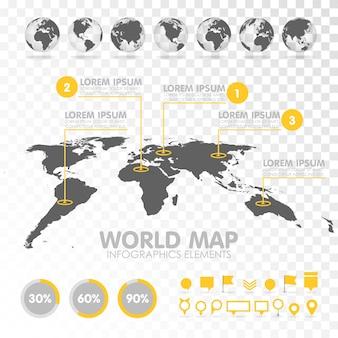 Mapa świata 3d z zestawem elementów infografiki.