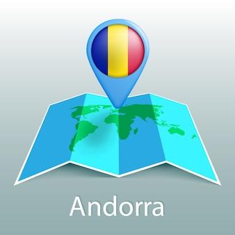 Mapa świata flaga andory w pin z nazwą kraju na szarym tle