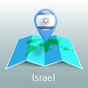 Mapa świata flaga izraela w pin z nazwą kraju na szarym tle