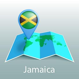 Mapa świata flaga jamajki w pin z nazwą kraju na szarym tle