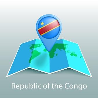 Mapa świata flaga republiki konga w pin z nazwą kraju na szarym tle