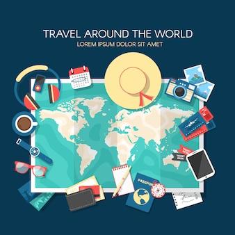 Mapa świata i elementy podróży z płaskiej konstrukcji