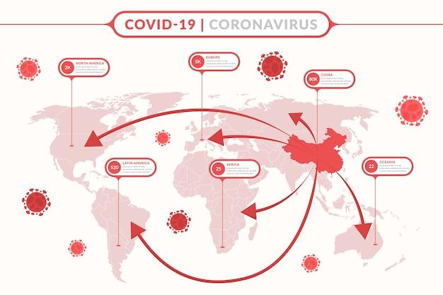 Mapa świata koronawirusa