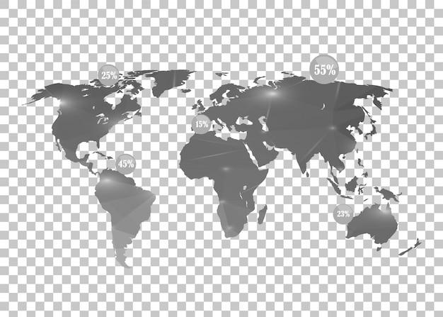 Mapa świata na przezroczystym.