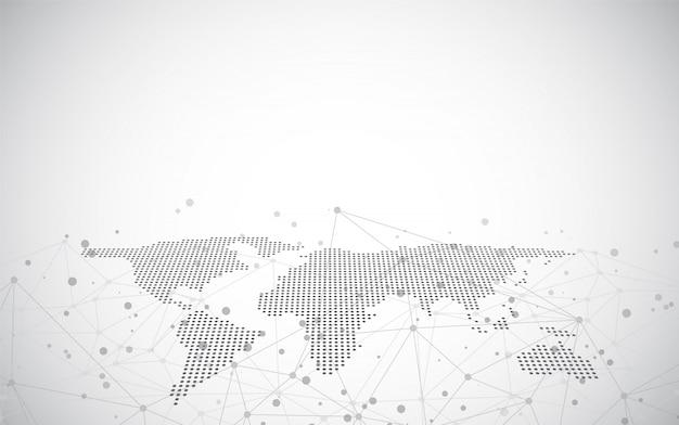 Mapa świata na tle technologicznym, świecące linie symboli internetu, radia, globalnego biznesu.