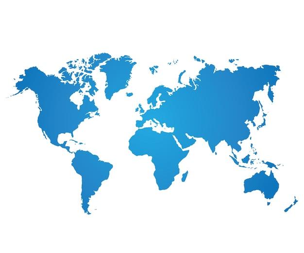 Mapa świata niebieski na białym tle