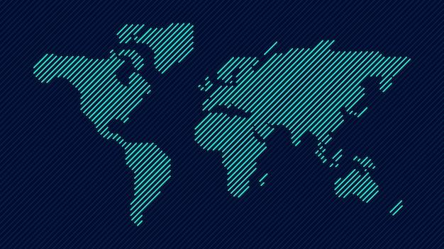 Mapa świata niebieskiej linii