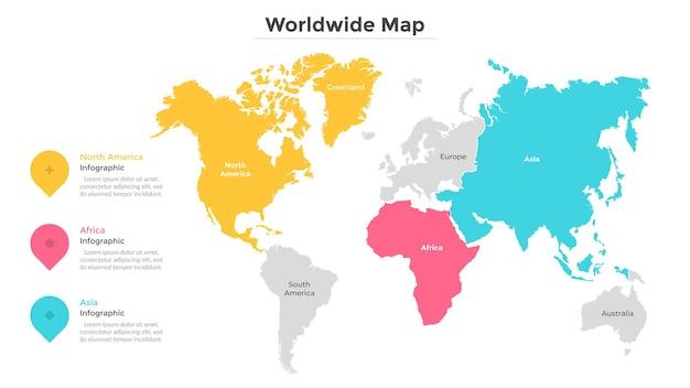 Mapa świata podzielona na stany lub kraje o nowoczesnych granicach. wskazanie lokalizacji podróży. szablon projektu plansza. ilustracja wektorowa do przeglądu statystyk lub raportu, strona turystyczna.