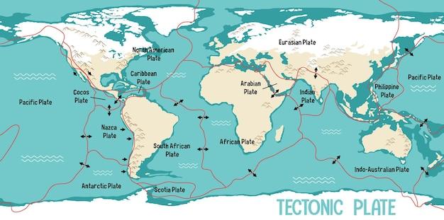 Mapa świata przedstawiająca granice płyt tektonicznych