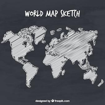 Mapa świata ręcznie rysowane