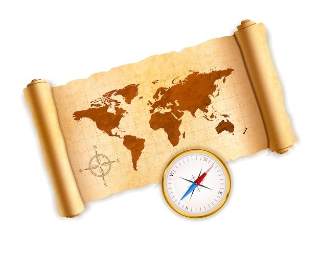 Mapa świata starożytnego na starej zwoju teksturowanej z błyszczącym kompasem na białym tle