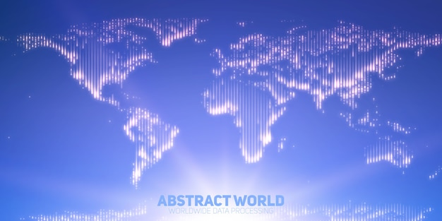 Mapa świata streszczenie wektor zbudowany ze świecących punktów. kontynenty z flarą na dole. abstrakcja map cyfrowych w jasnoniebieskich kolorach. cyfrowe kontynenty. globalna sieć informacyjna.