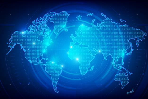 Mapa świata tło binarna tekstura cyfry