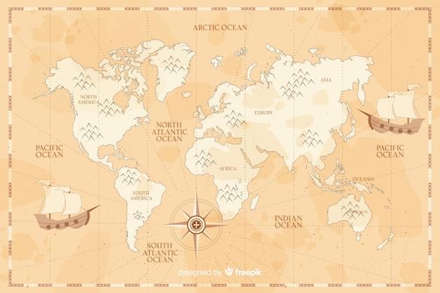 Mapa świata vintage w tle odcienie sepii