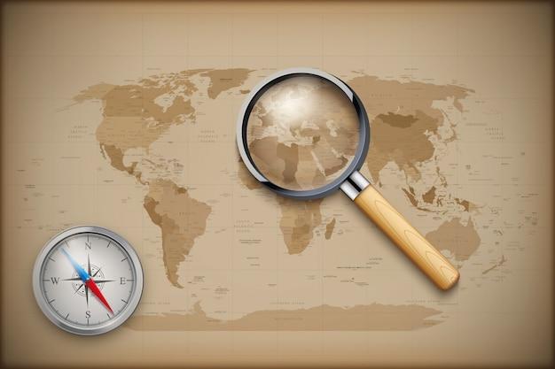 Mapa świata vintage z lupą i kompasem