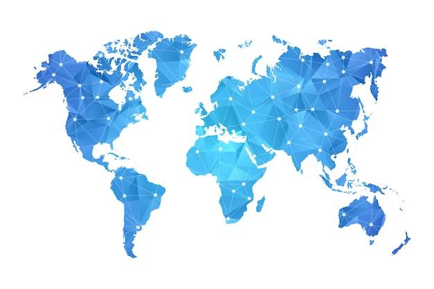 Mapa świata w kolorze niebieskim w stylu wielokąta